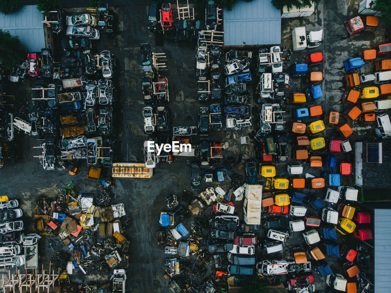 High Angle View Of Abandoned Vehicles In City