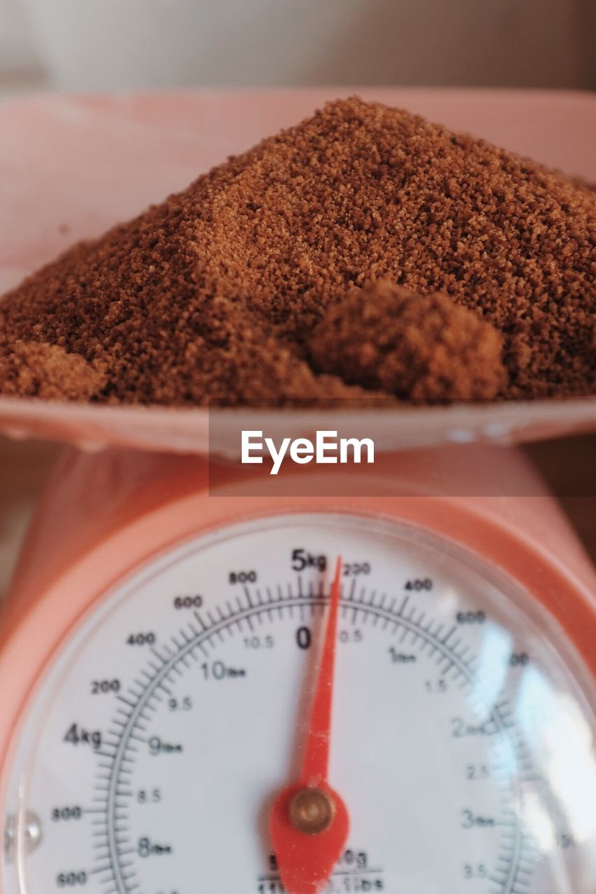 Close-up of food on weight scale