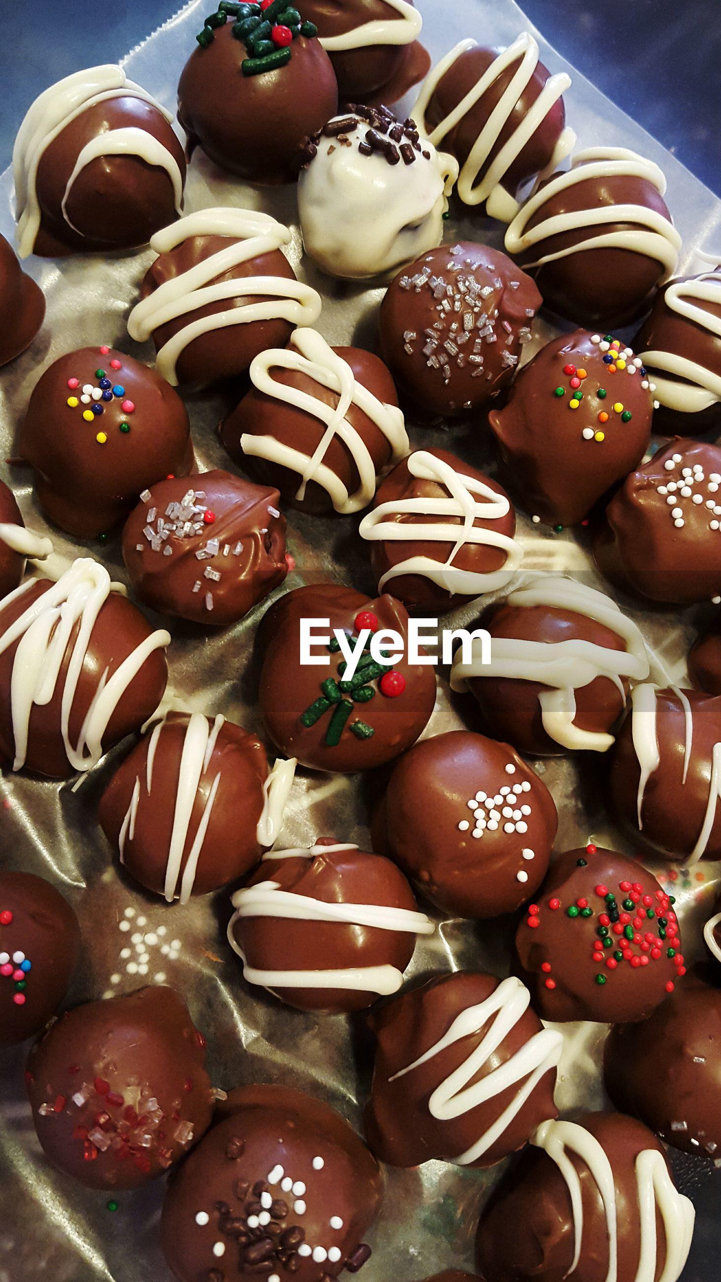 High angle view of chocolate balls