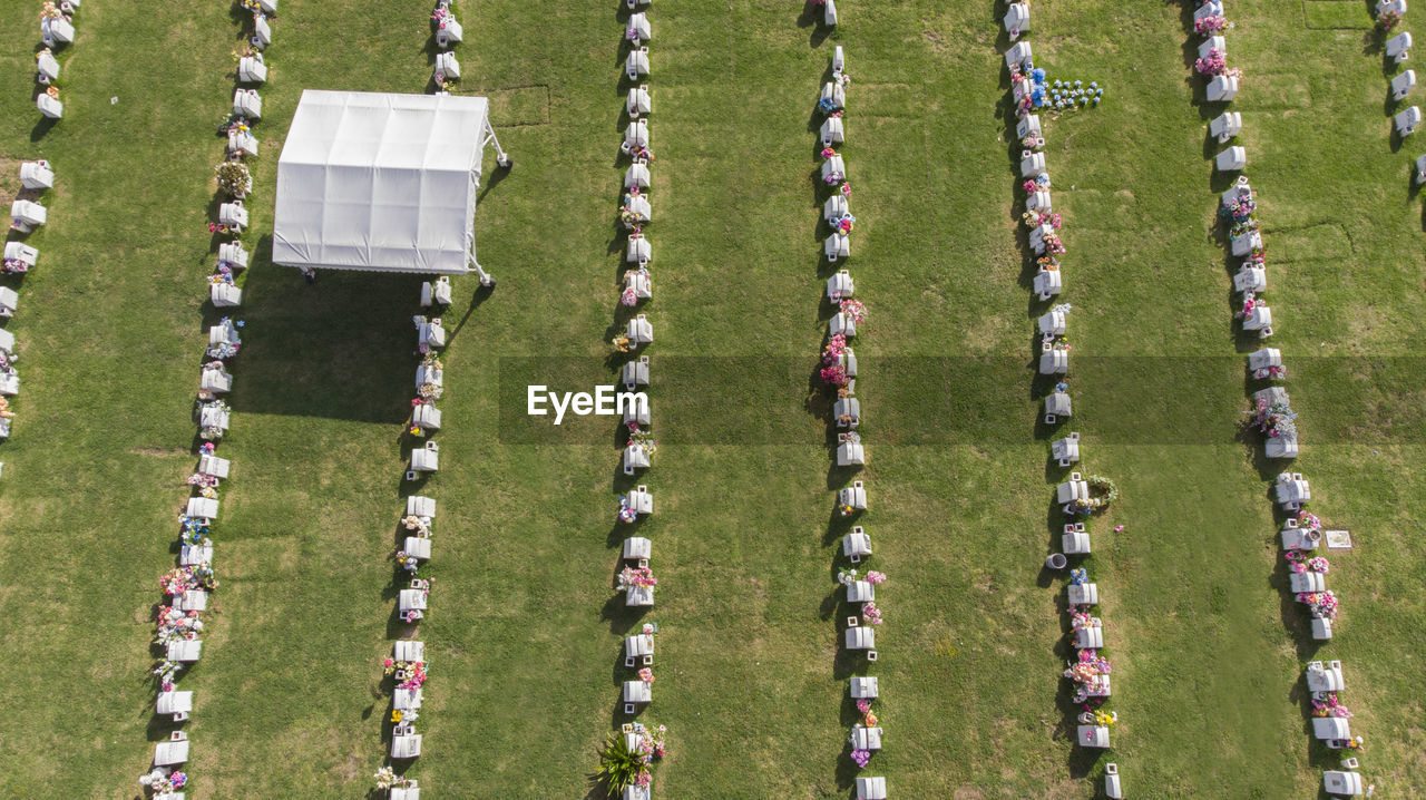 Aerial View Of Tombstone On Field During Sunny Day