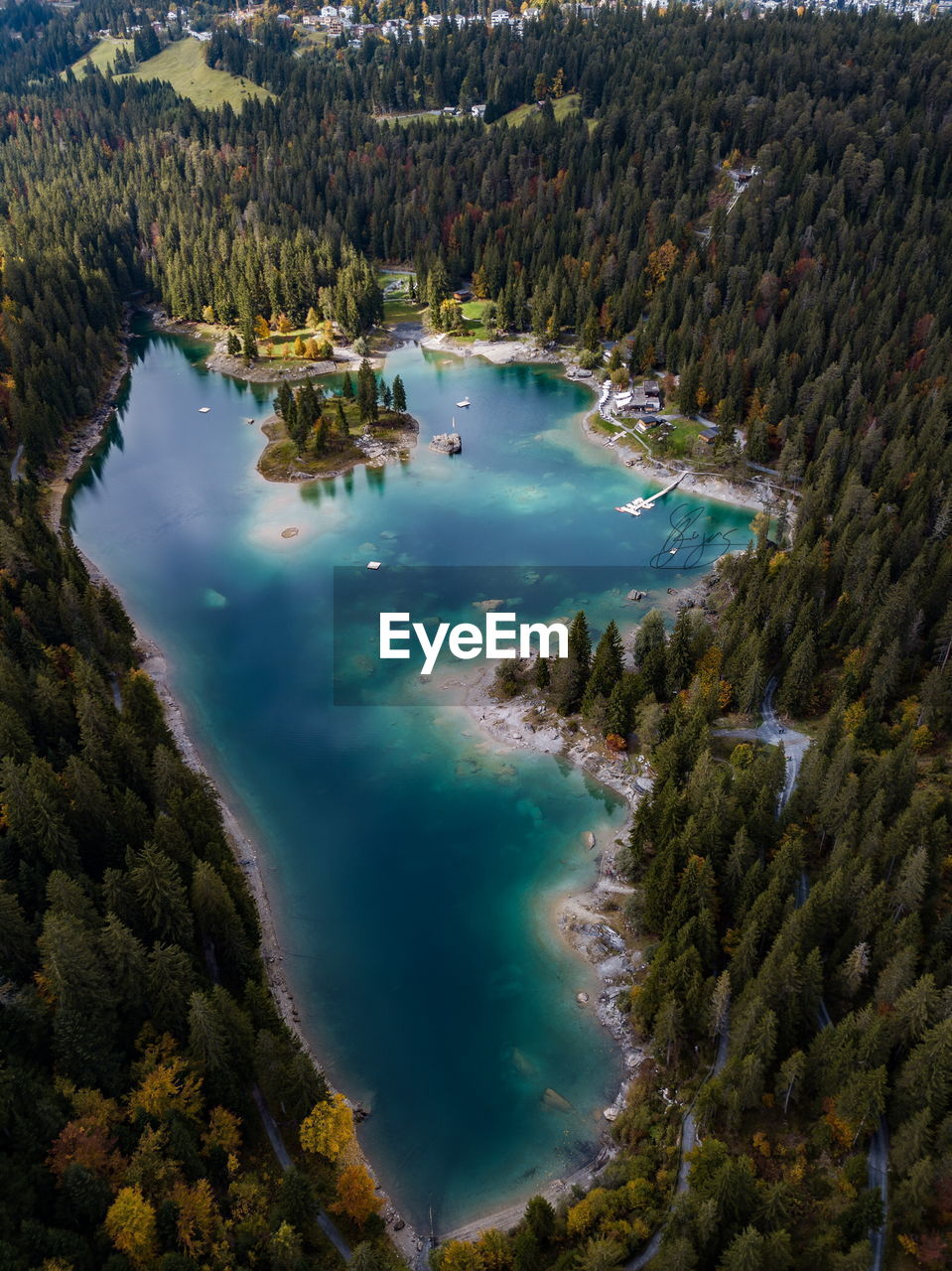 water, high angle view, nature, beauty in nature, scenics, tranquil scene, tree, outdoors, mountain, tranquility, physical geography, lake, day, no people, hot spring, sky