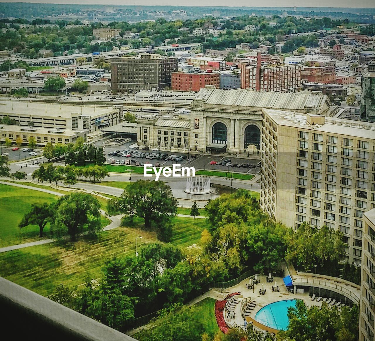 High Angle View Of Park By Kansas City Union Station