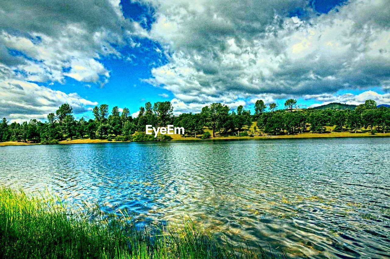 lake, tranquil scene, beauty in nature, nature, scenics, tranquility, cloud - sky, water, sky, idyllic, tree, no people, waterfront, outdoors, growth, day, rippled, grass, mountain