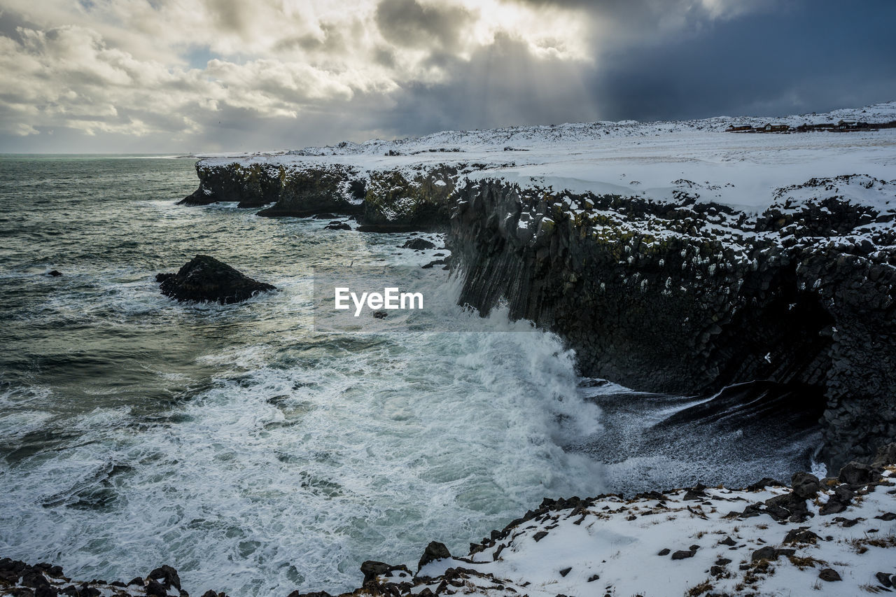 SCENIC VIEW OF SEA WAVES AGAINST ROCKS