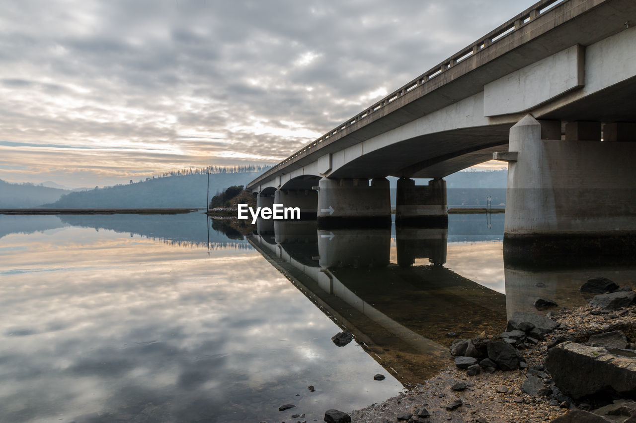 VIEW OF BRIDGE OVER LAKE AGAINST CLOUDY SKY