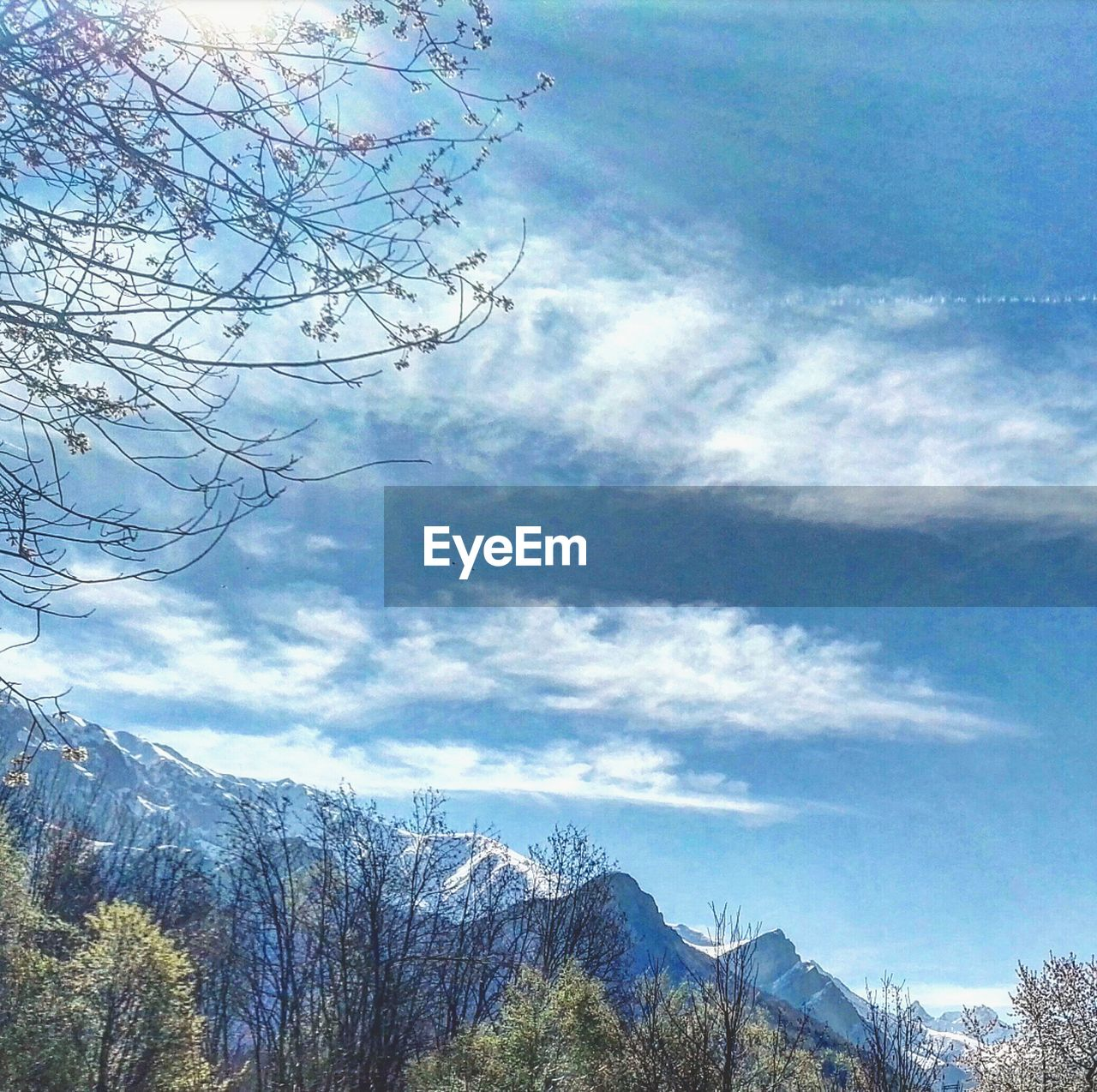 sky, nature, tree, bare tree, beauty in nature, scenics, mountain, tranquility, day, cloud - sky, snow, tranquil scene, branch, winter, cold temperature, outdoors, no people, landscape, low angle view, mountain range, forest