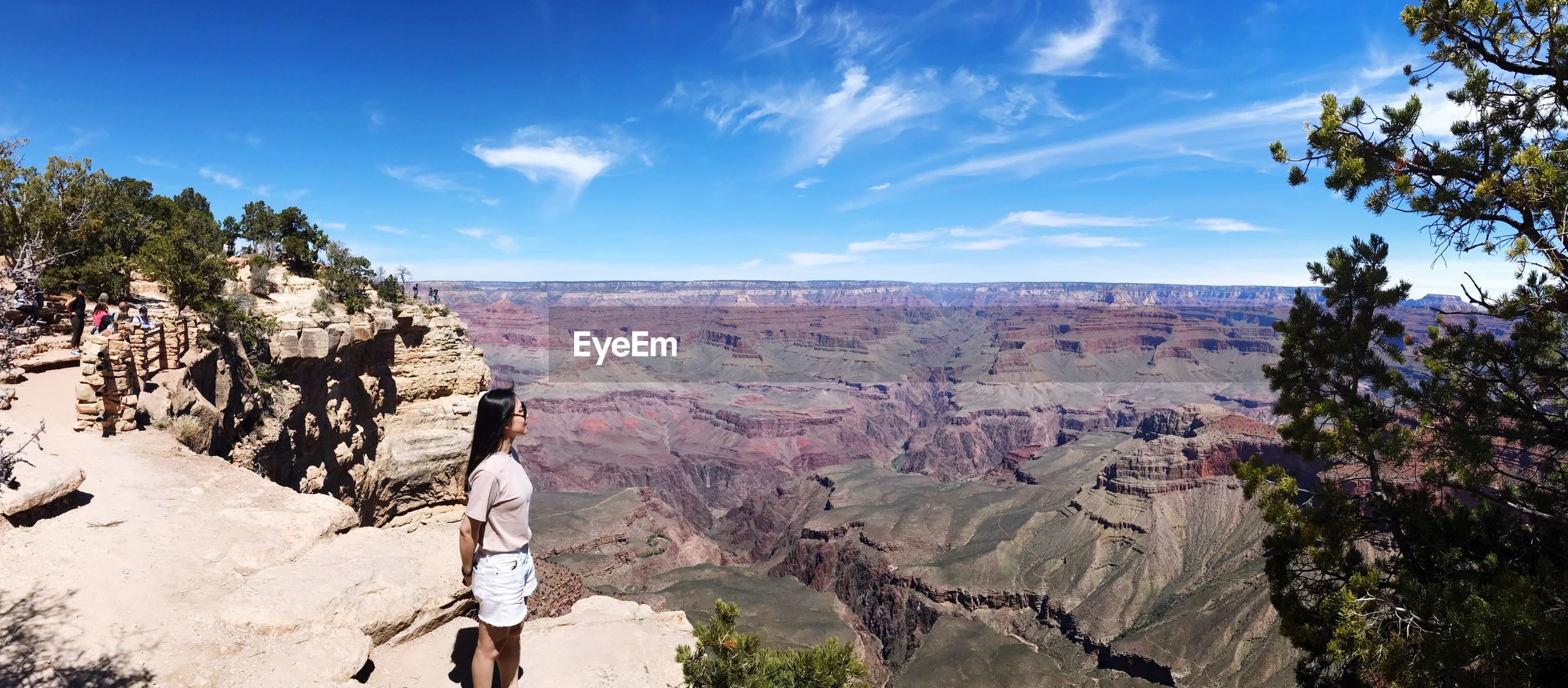 Panoramic view of woman standing on cliff landscape against sky