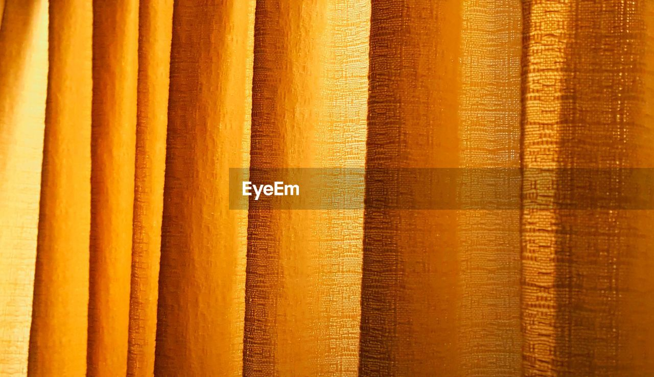 backgrounds, full frame, no people, close-up, yellow, pattern, side by side, orange color, in a row, repetition, curtain, textured, brown, wood - material, indoors, day, architecture, built structure, detail, order