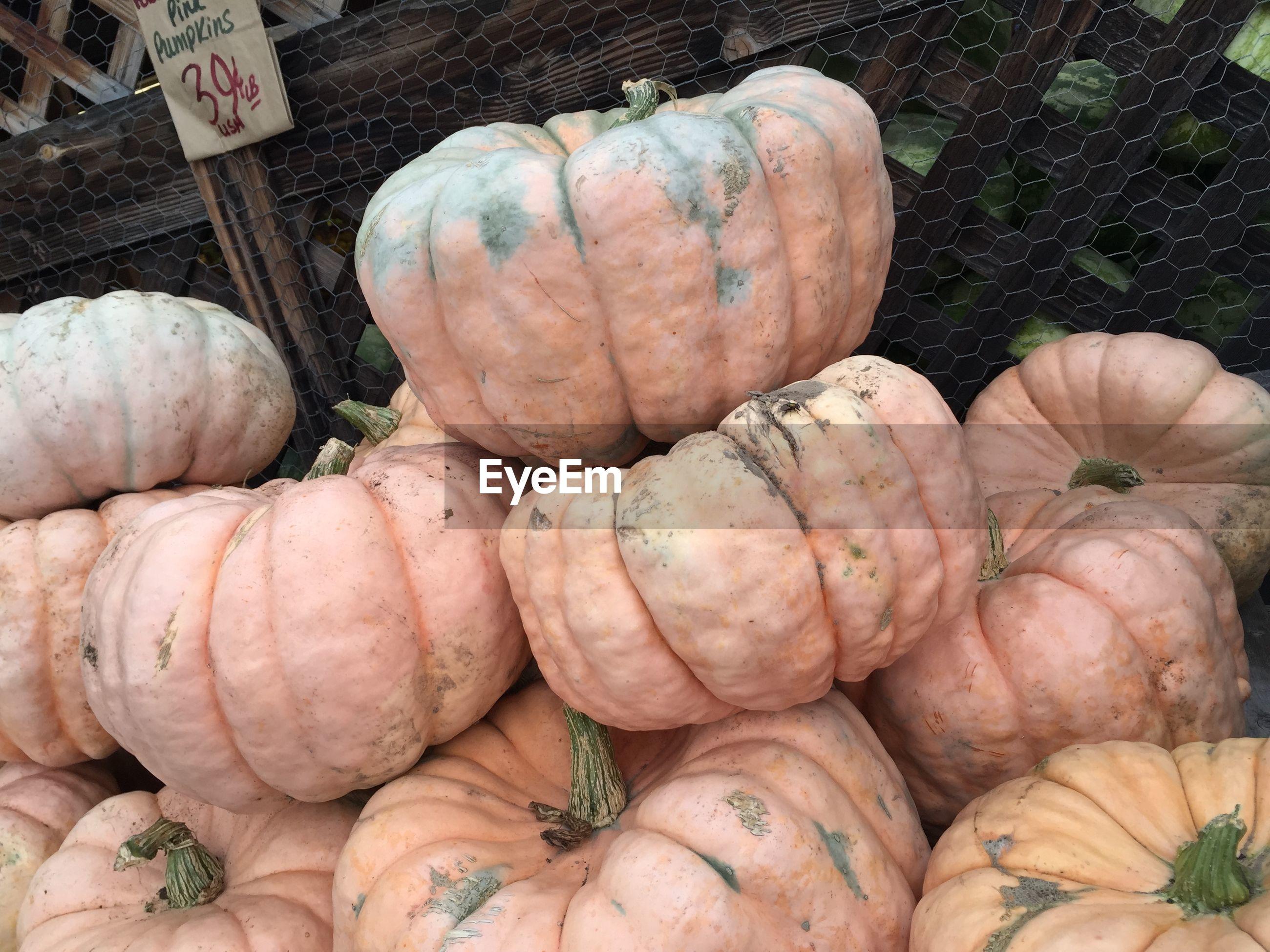 Stack of porcelain doll pumpkins at farmers market