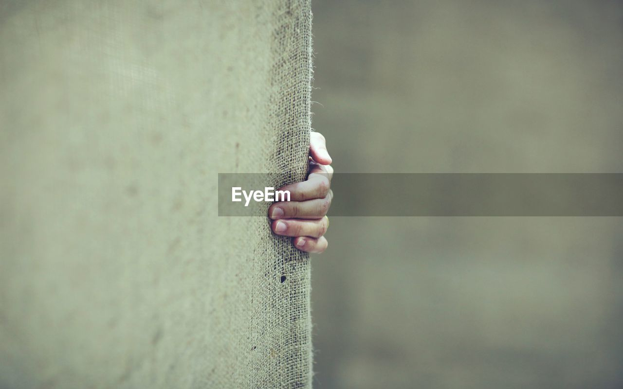 one person, day, wall - building feature, human hand, human body part, real people, holding, selective focus, outdoors, focus on foreground, close-up, hand, lifestyles, nature, body part, fence, standing, unrecognizable person, leisure activity, nail, finger, hood - clothing