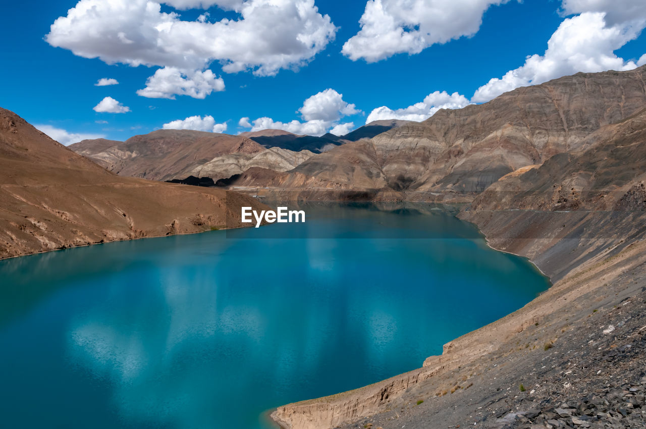 Beautiful turquoise color water of the reservoir.