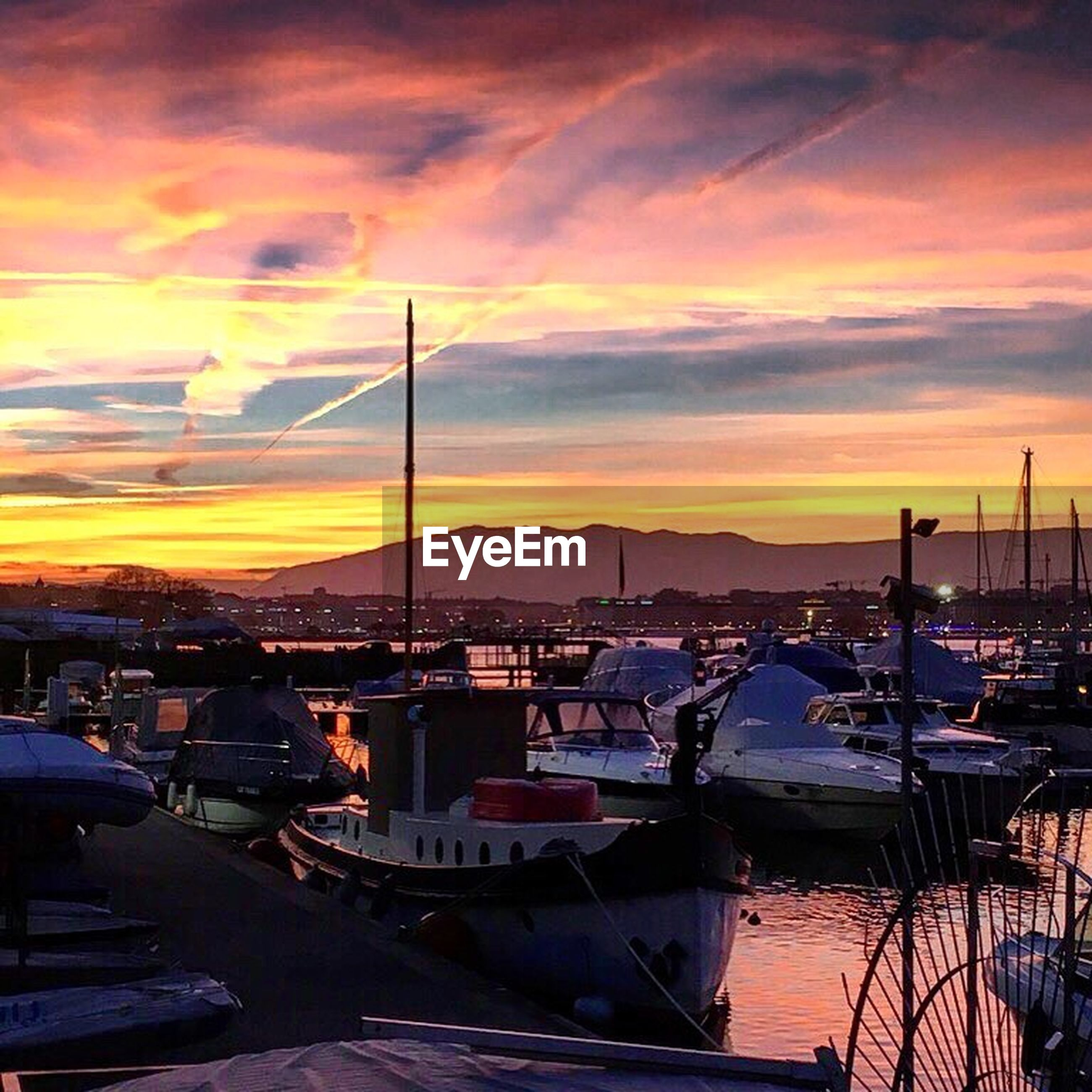 harbor, sunset, cloud - sky, moored, sky, water, nautical vessel, no people, sea, commercial dock, outdoors, beauty in nature, nature, yacht