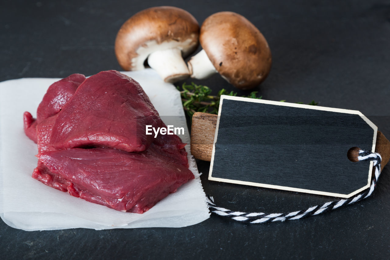 Close-up of meat on table