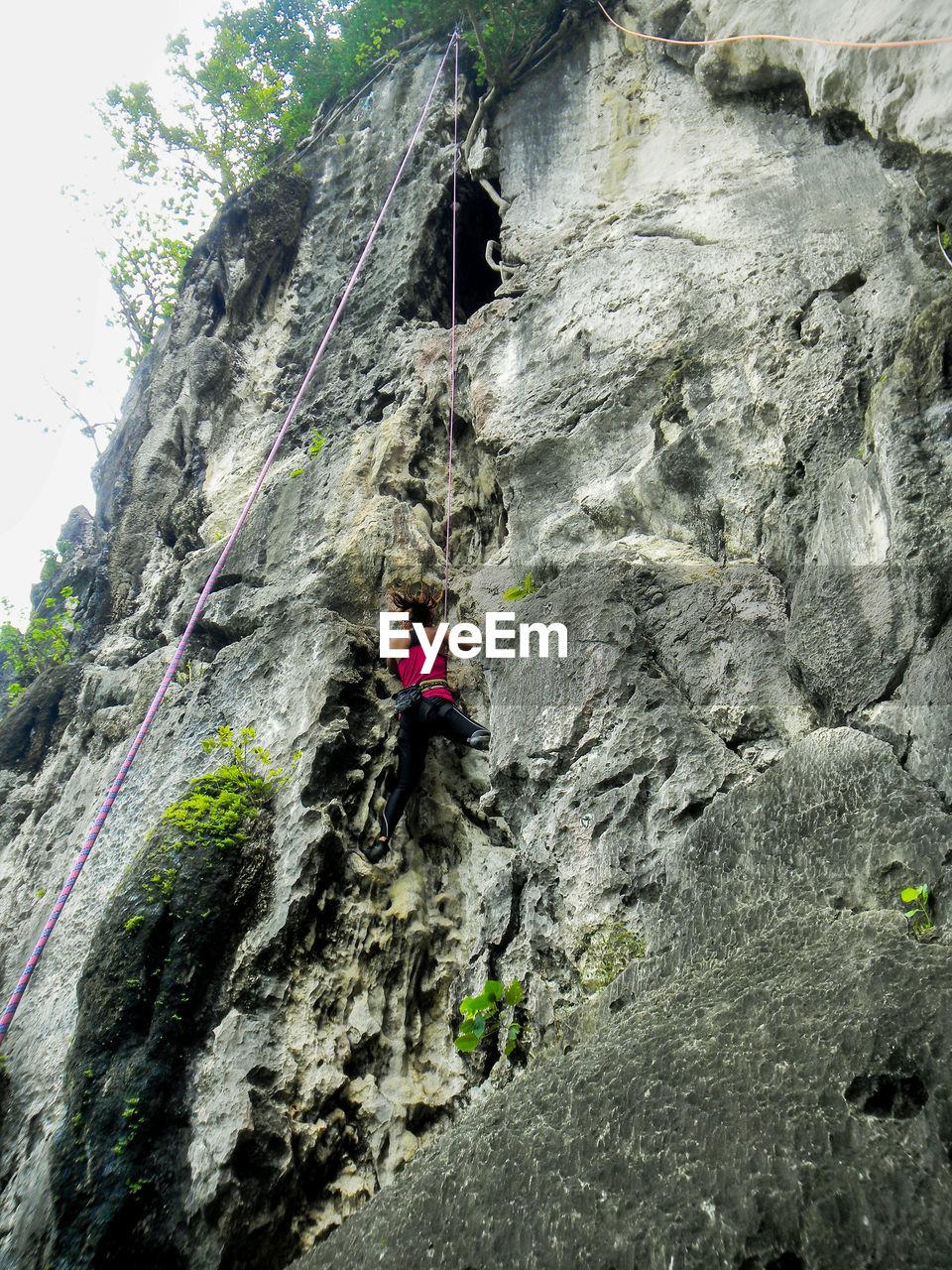 Rear view of woman climbing mountain