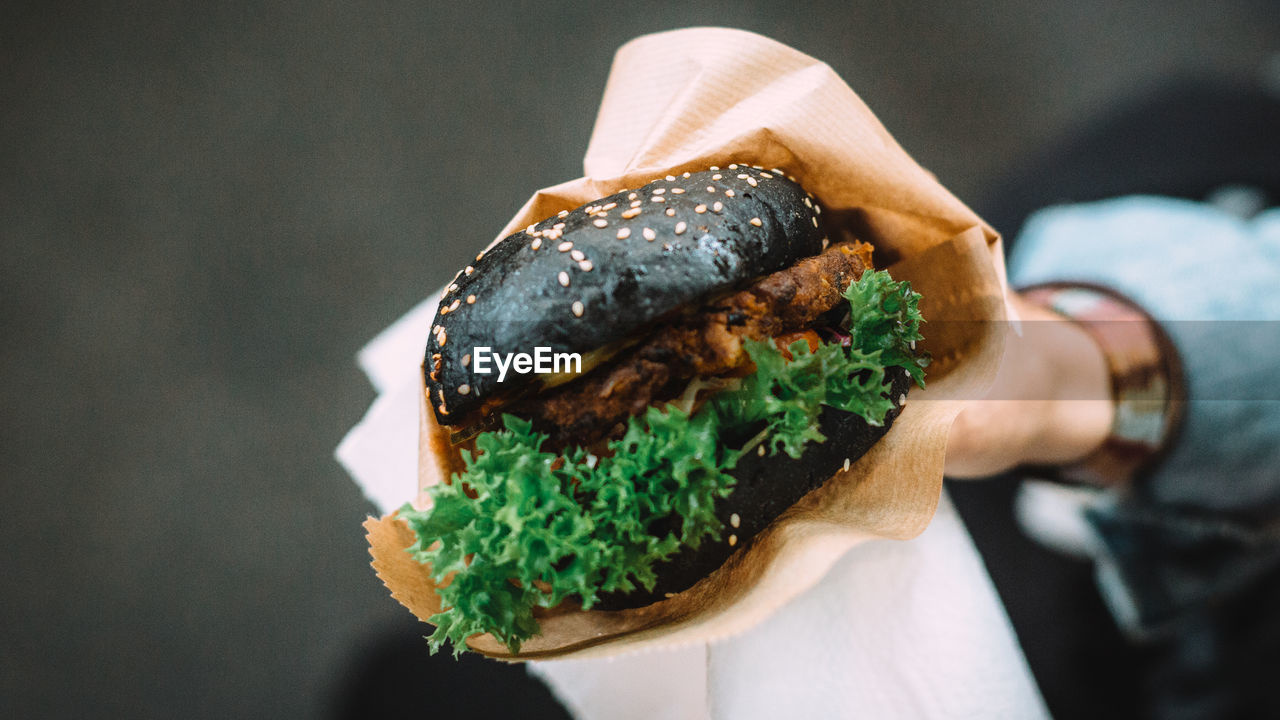Cropped Image Of Person Holding Tofu Burger