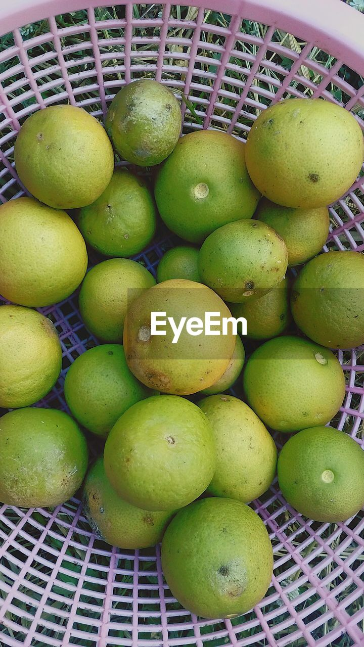 HIGH ANGLE VIEW OF FRUIT IN BASKET