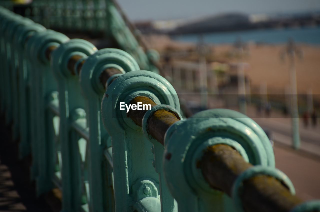 Close-Up Of Railing At Brighton Pier