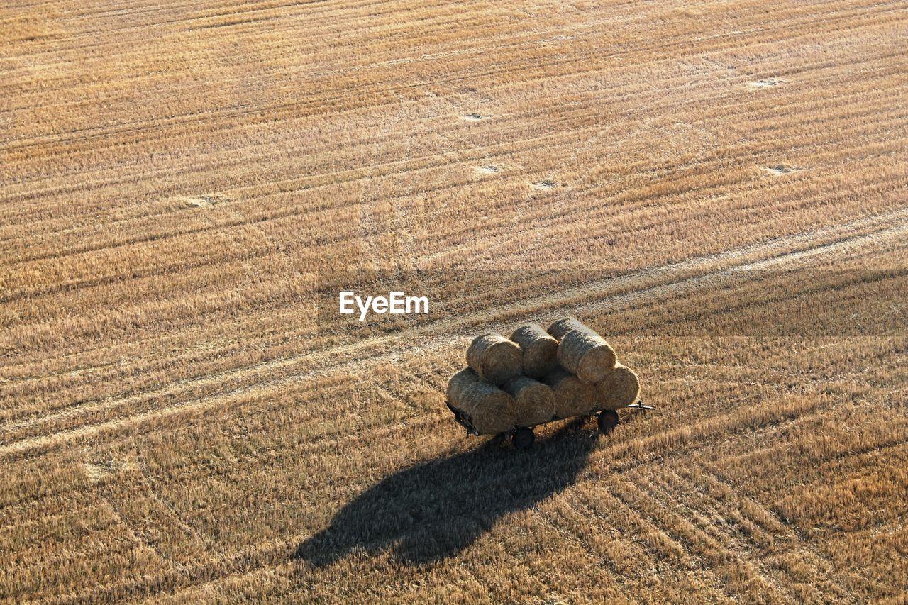 Aerial View Of Hay Bales