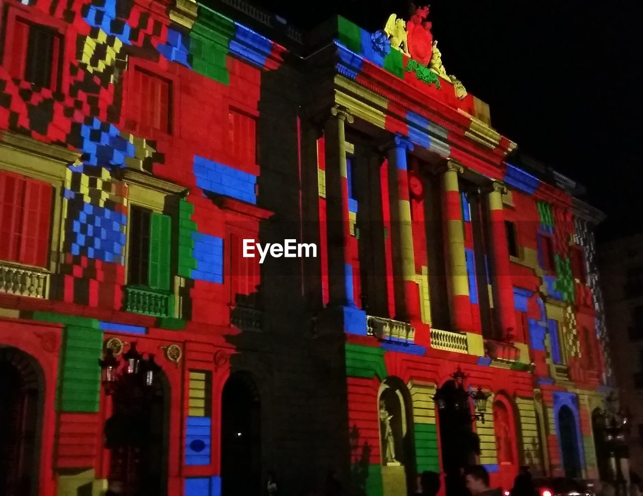 architecture, multi colored, low angle view, building exterior, built structure, history, outdoors, no people, night, illuminated