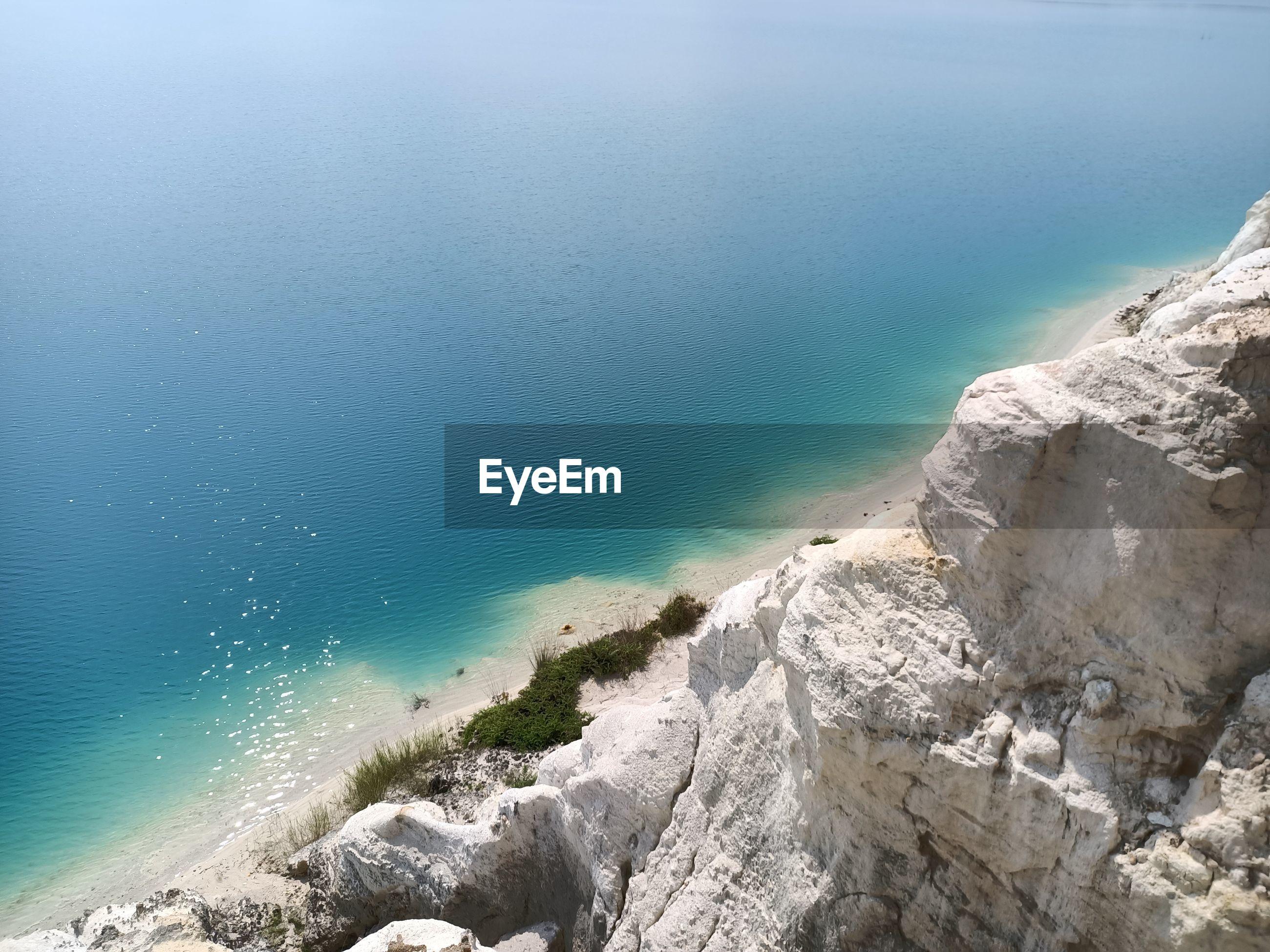 Panoramic shot of rocks on beach