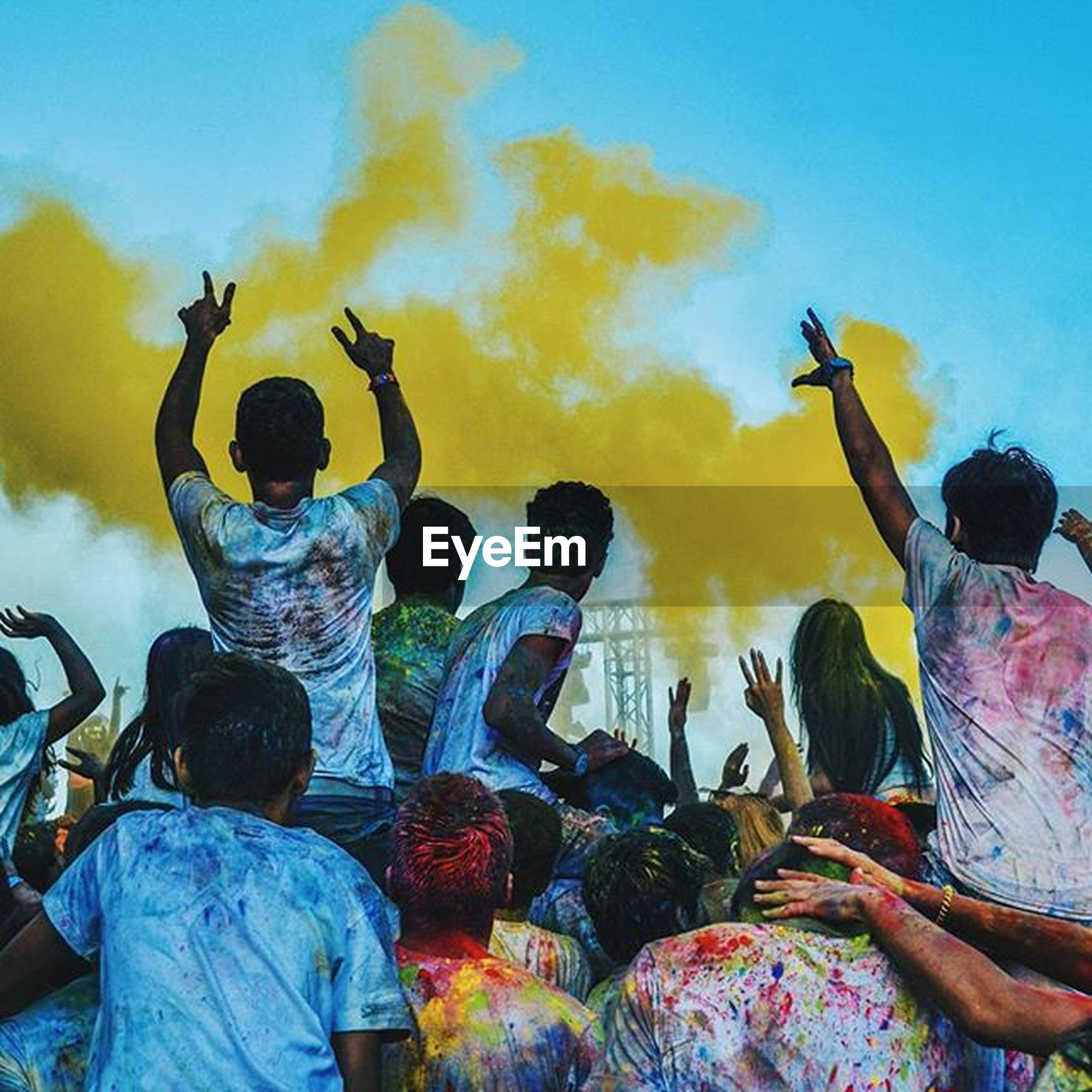 lifestyles, leisure activity, men, togetherness, sky, casual clothing, person, rear view, standing, blue, enjoyment, childhood, bonding, boys, outdoors, fun, friendship