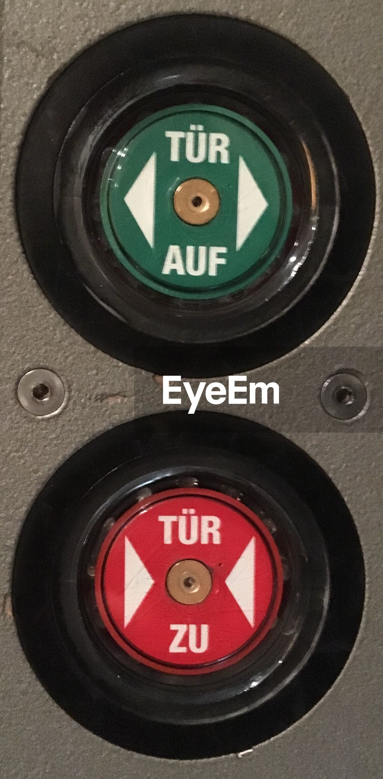 Close-up of push buttons in elevator