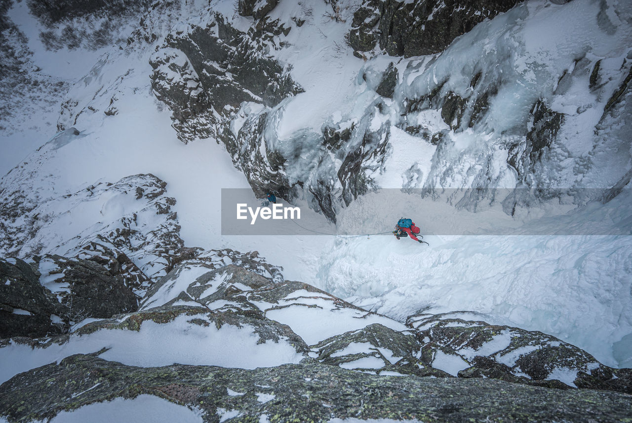 HIGH ANGLE VIEW OF PERSON ON SNOWCAPPED MOUNTAINS