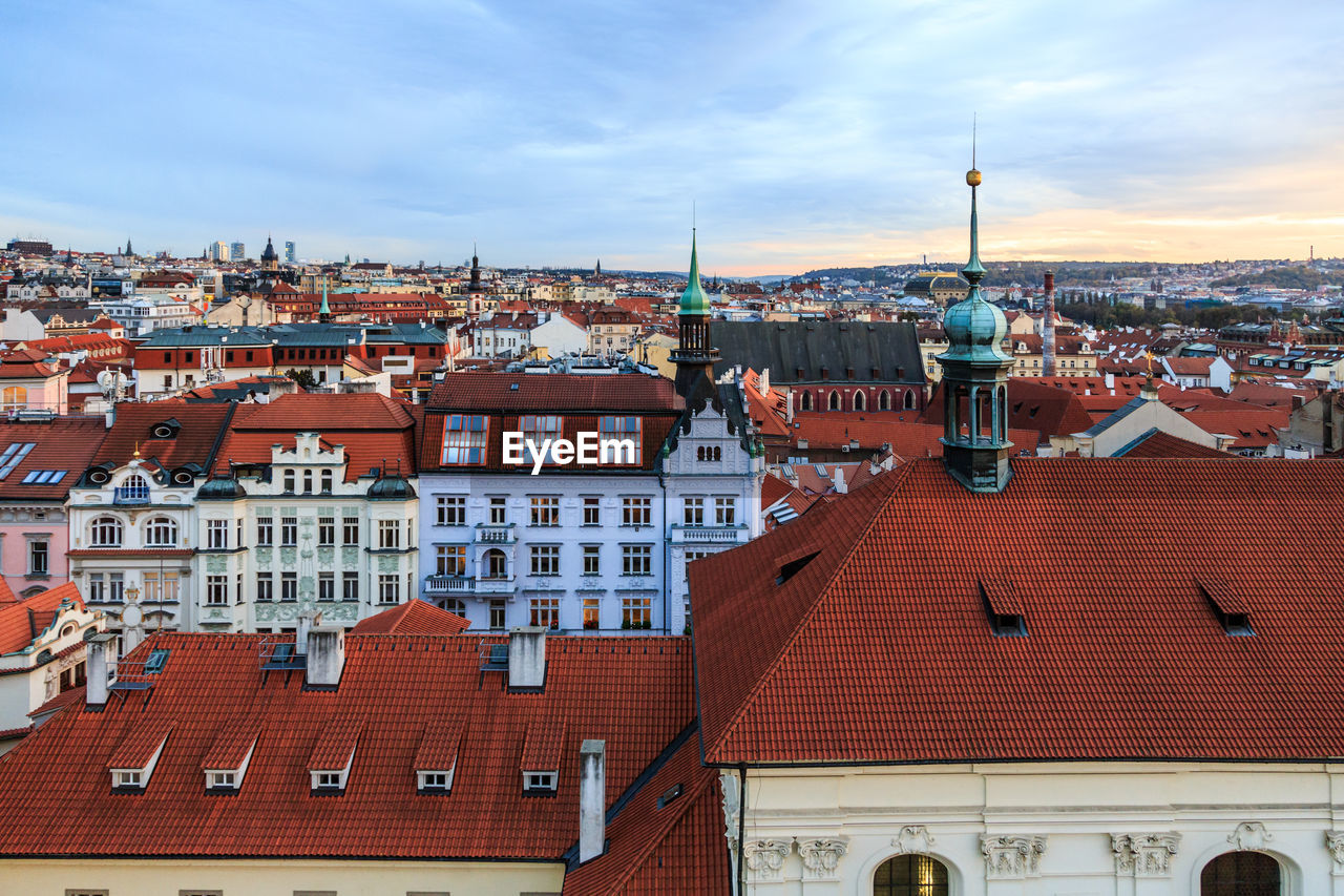 architecture, building exterior, built structure, sky, roof, house, cloud - sky, residential building, no people, red, outdoors, day, tiled roof, city, cityscape