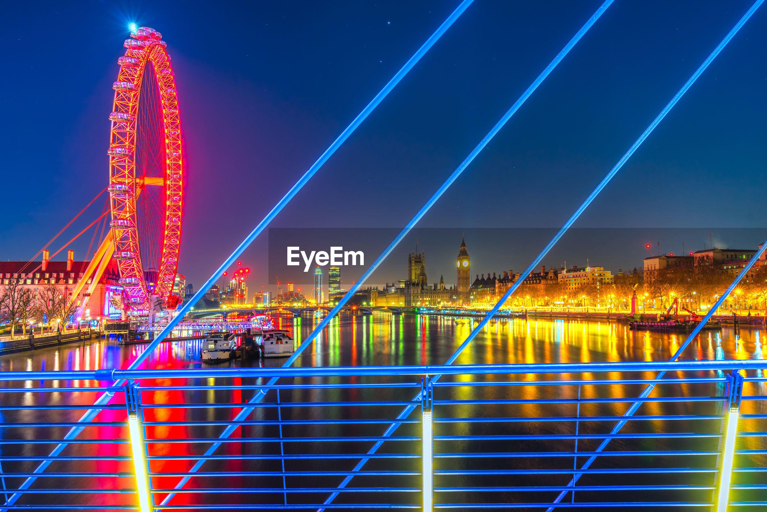 Illuminated suspension bridge in city at night