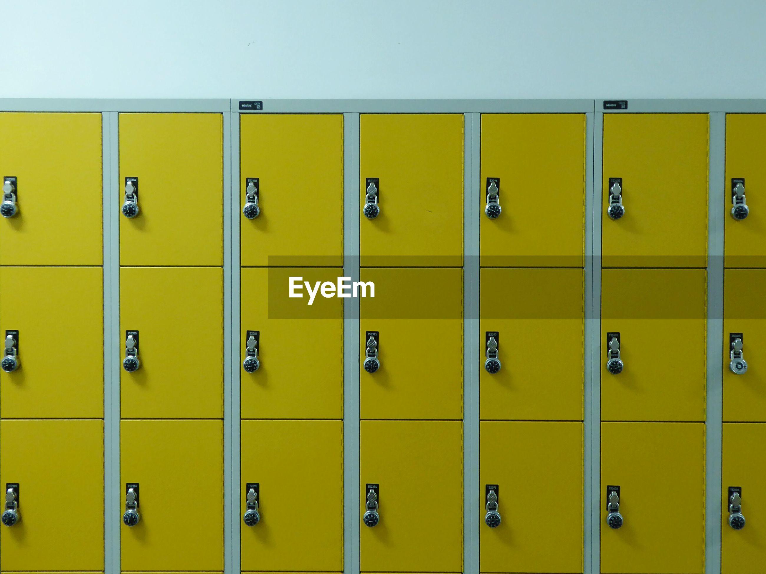 Close-up of yellow locker