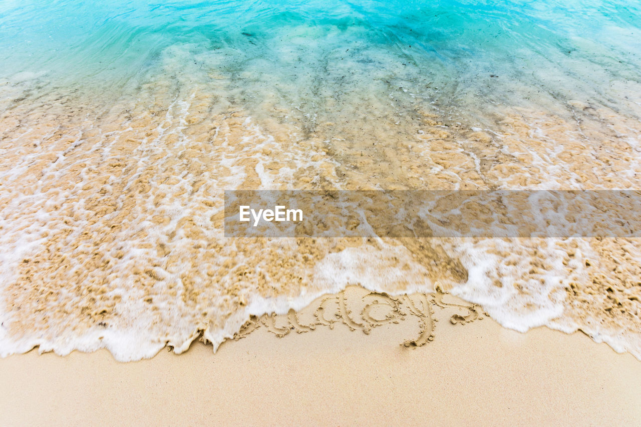High Angle View Of Text On Beach