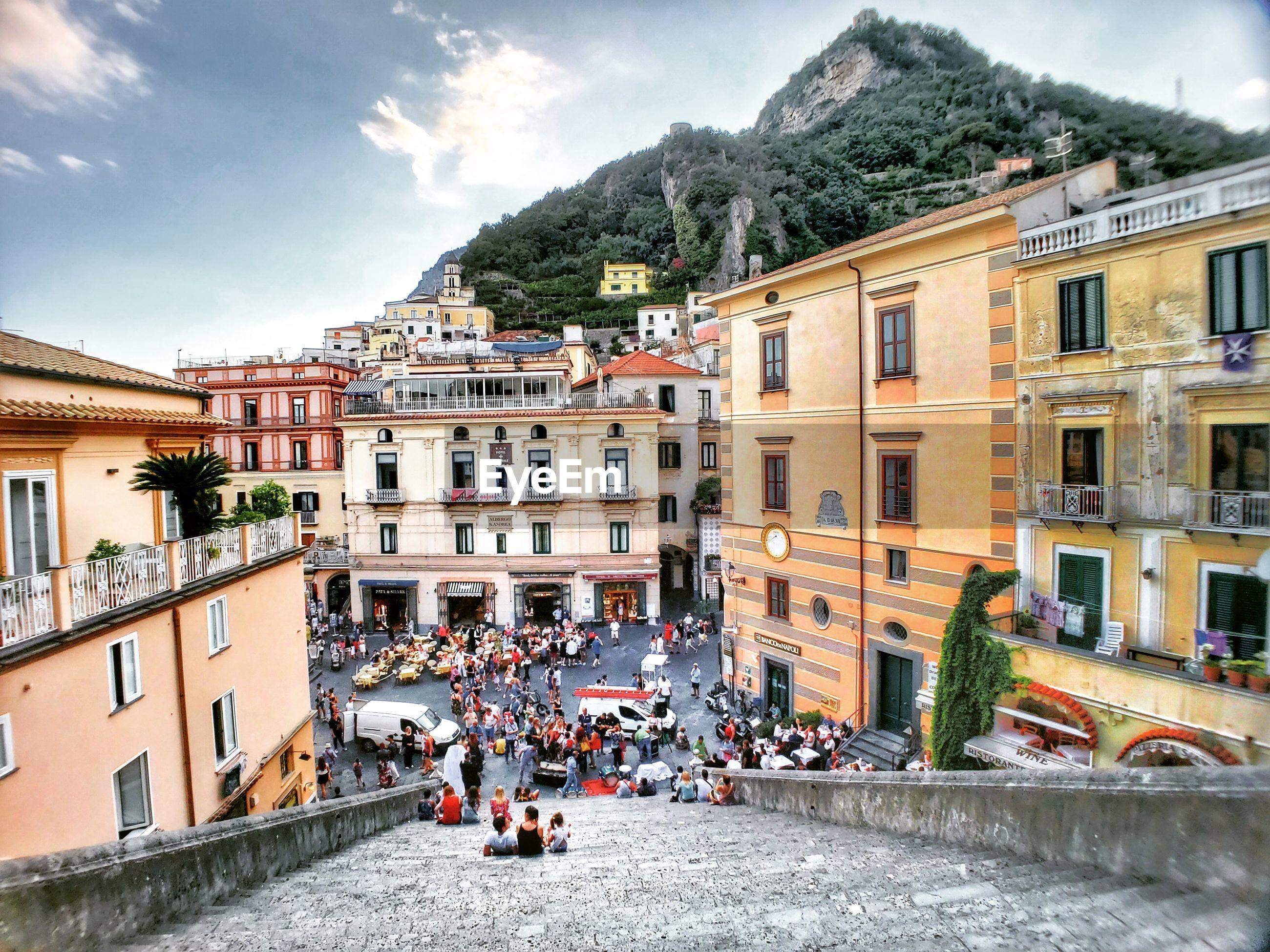 High angle view of buildings of amalfi city