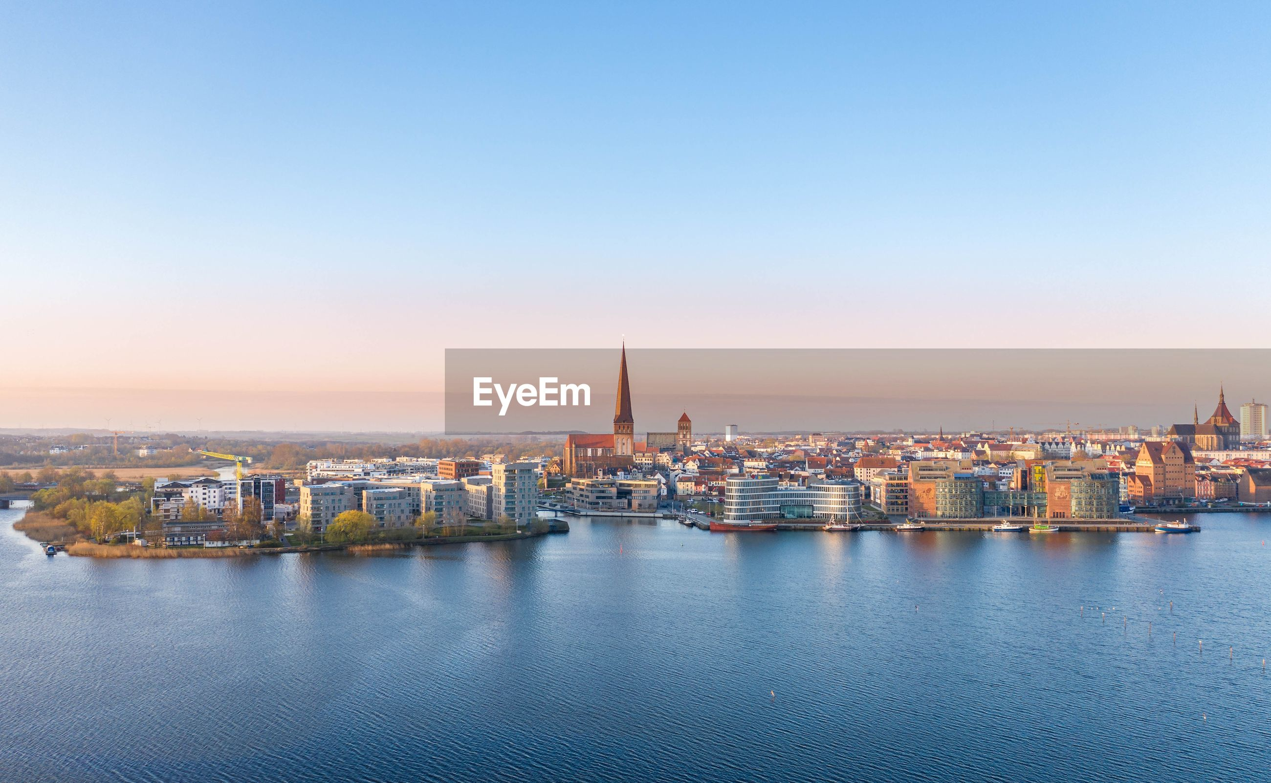 Aerial view of the skyline of the city of rostock - baltic sea