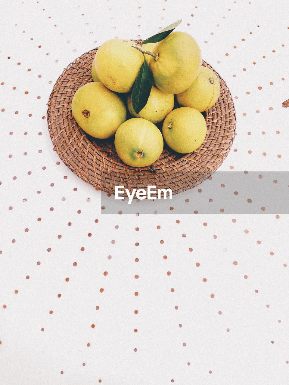High angle view of fruits on wicker