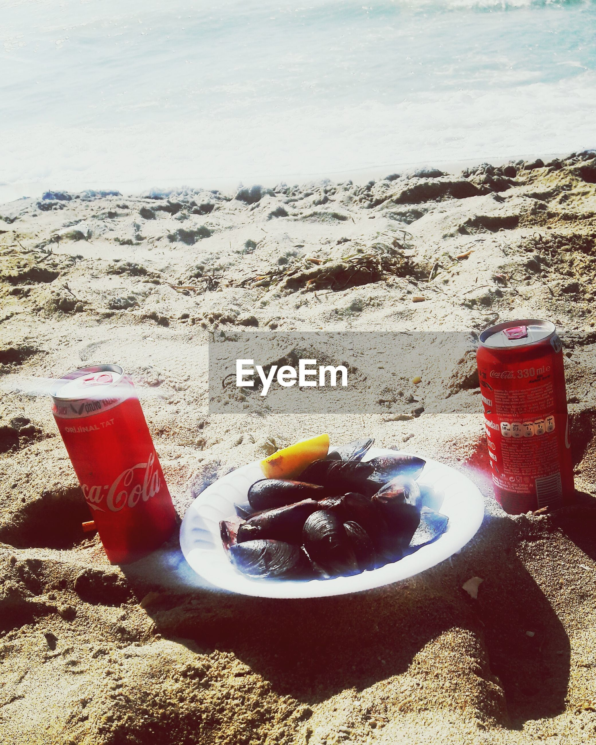 beach, sand, food and drink, bottle, drink, sea, outdoors, day, food, refreshment, nature, plate, no people, water, vacations, sky, summer, red, beauty in nature, close-up, freshness, sand pail and shovel