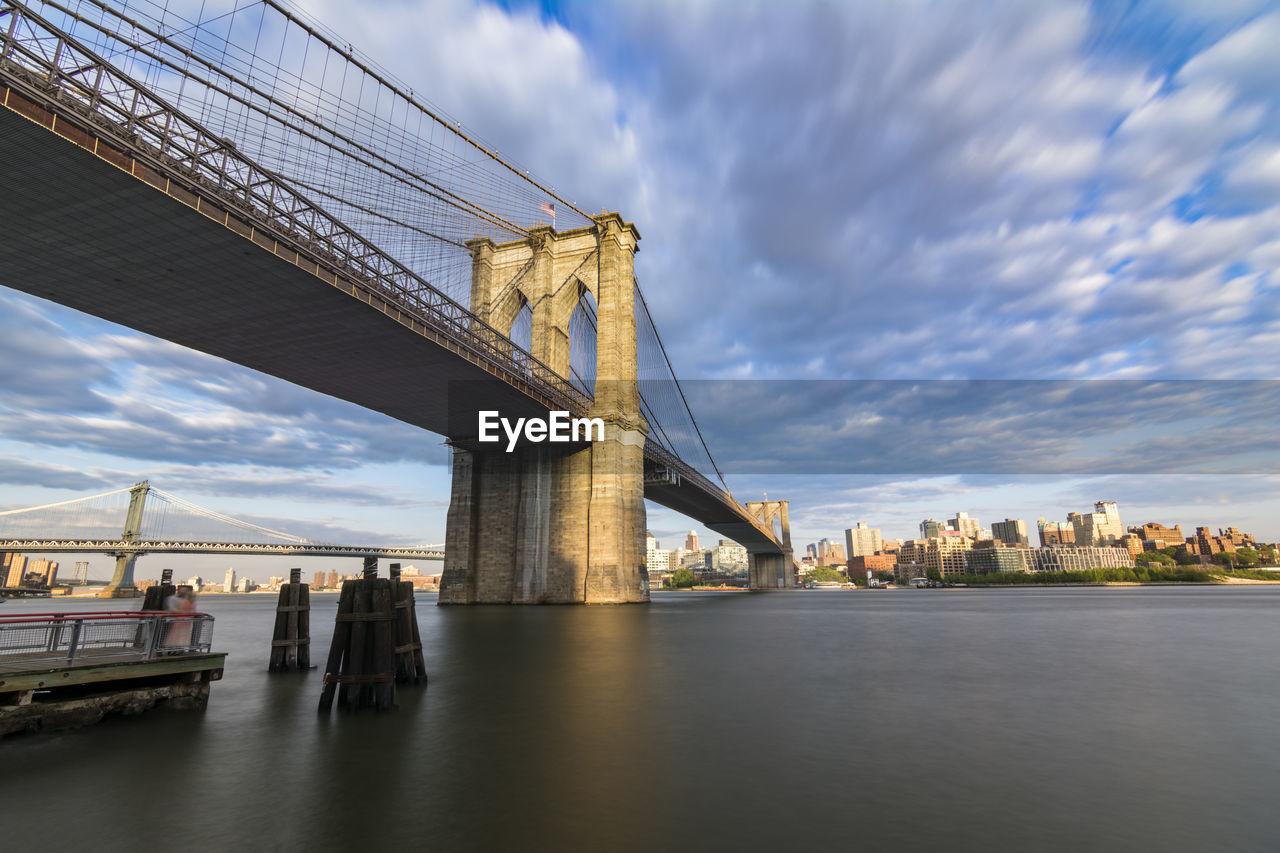 Brooklyn bridge over east river against sky