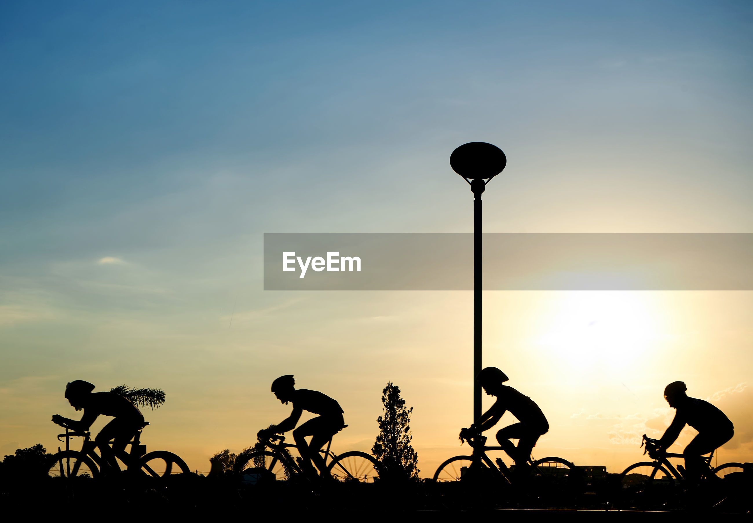 Silhouette people riding bicycles on street against sky during sunset