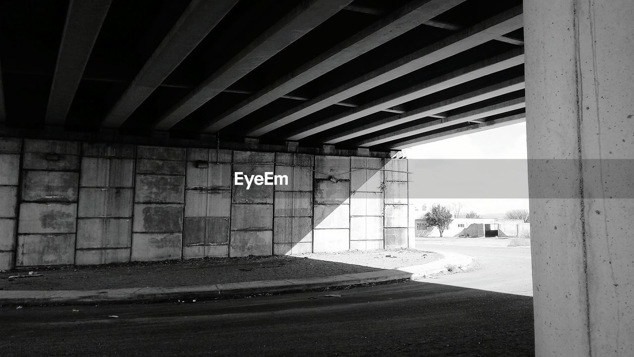 architecture, built structure, bridge - man made structure, connection, transportation, day, indoors, below, underneath, no people, road, under, parking garage