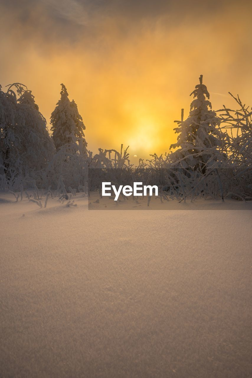 Scenic view of snow covered field against orange sky