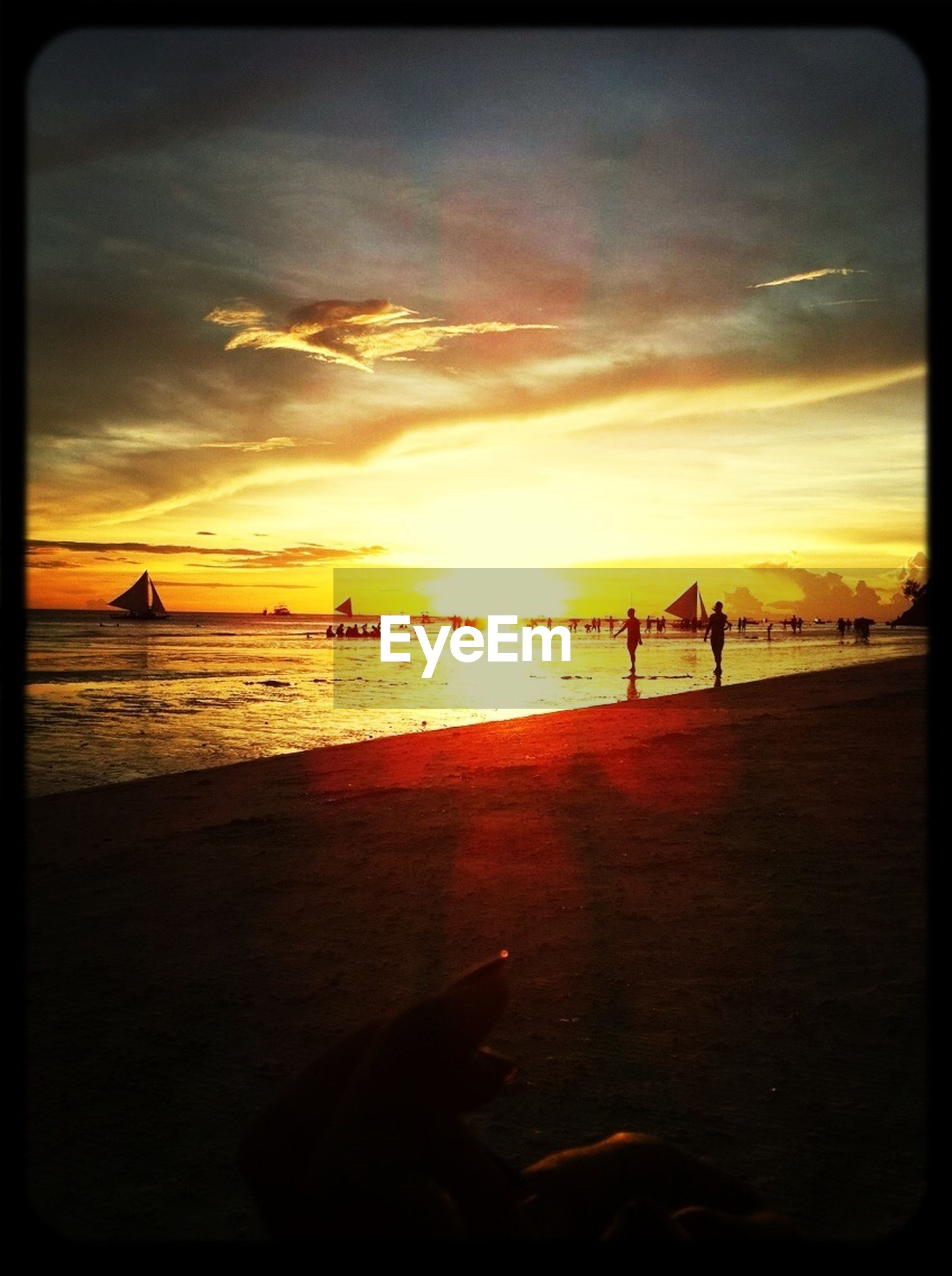 sunset, sea, sky, water, beach, horizon over water, transfer print, scenics, cloud - sky, beauty in nature, sand, shore, auto post production filter, orange color, tranquil scene, silhouette, transportation, tranquility, nature