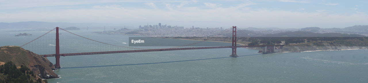 Panoramic View Of Golden Gate Bridge Over San Francisco Bay