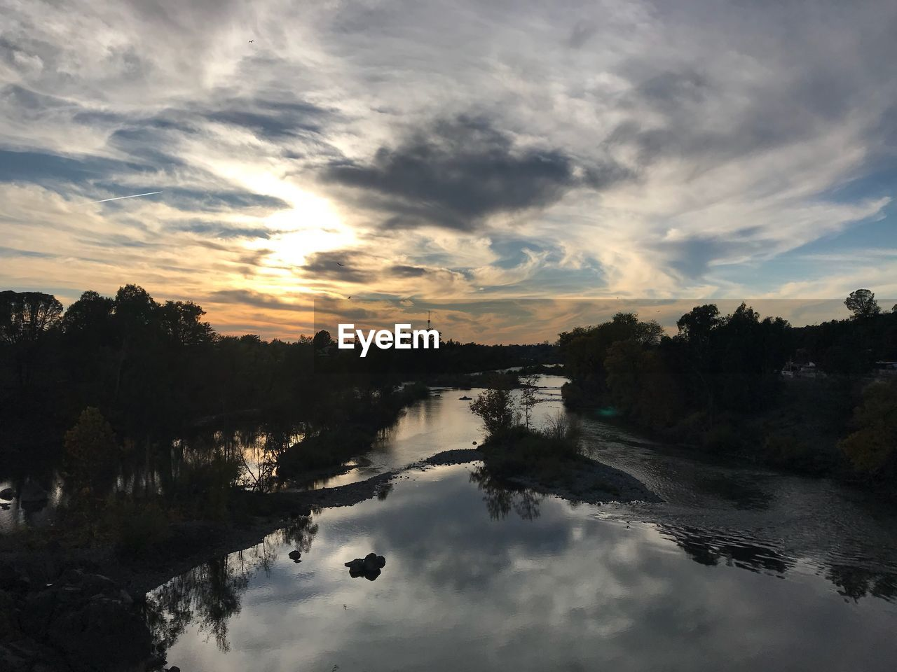 cloud - sky, reflection, water, sky, sunset, nature, no people, beauty in nature, scenics, tree, tranquil scene, tranquility, outdoors, day