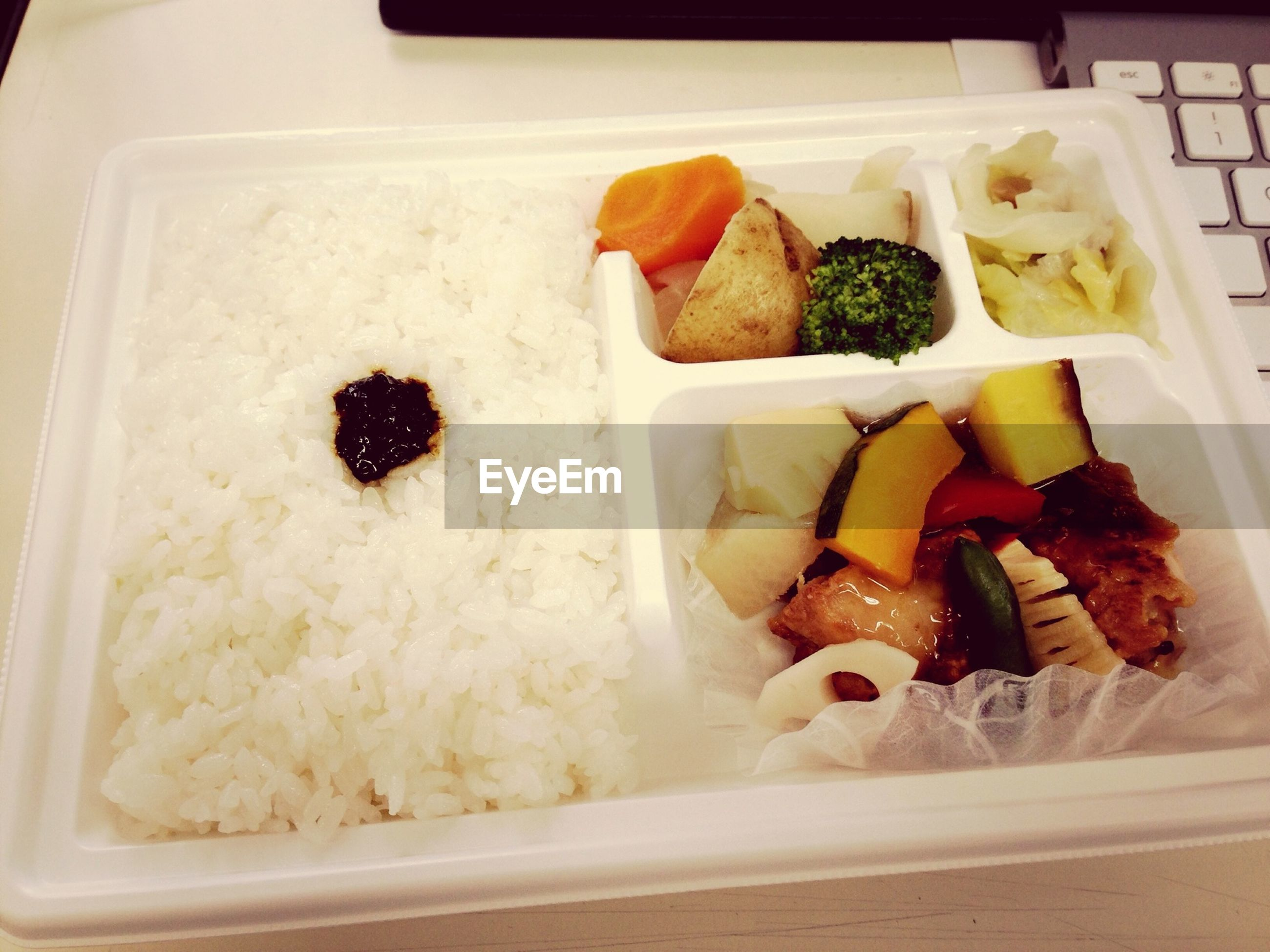 High angle view of fresh bento box lunch meal