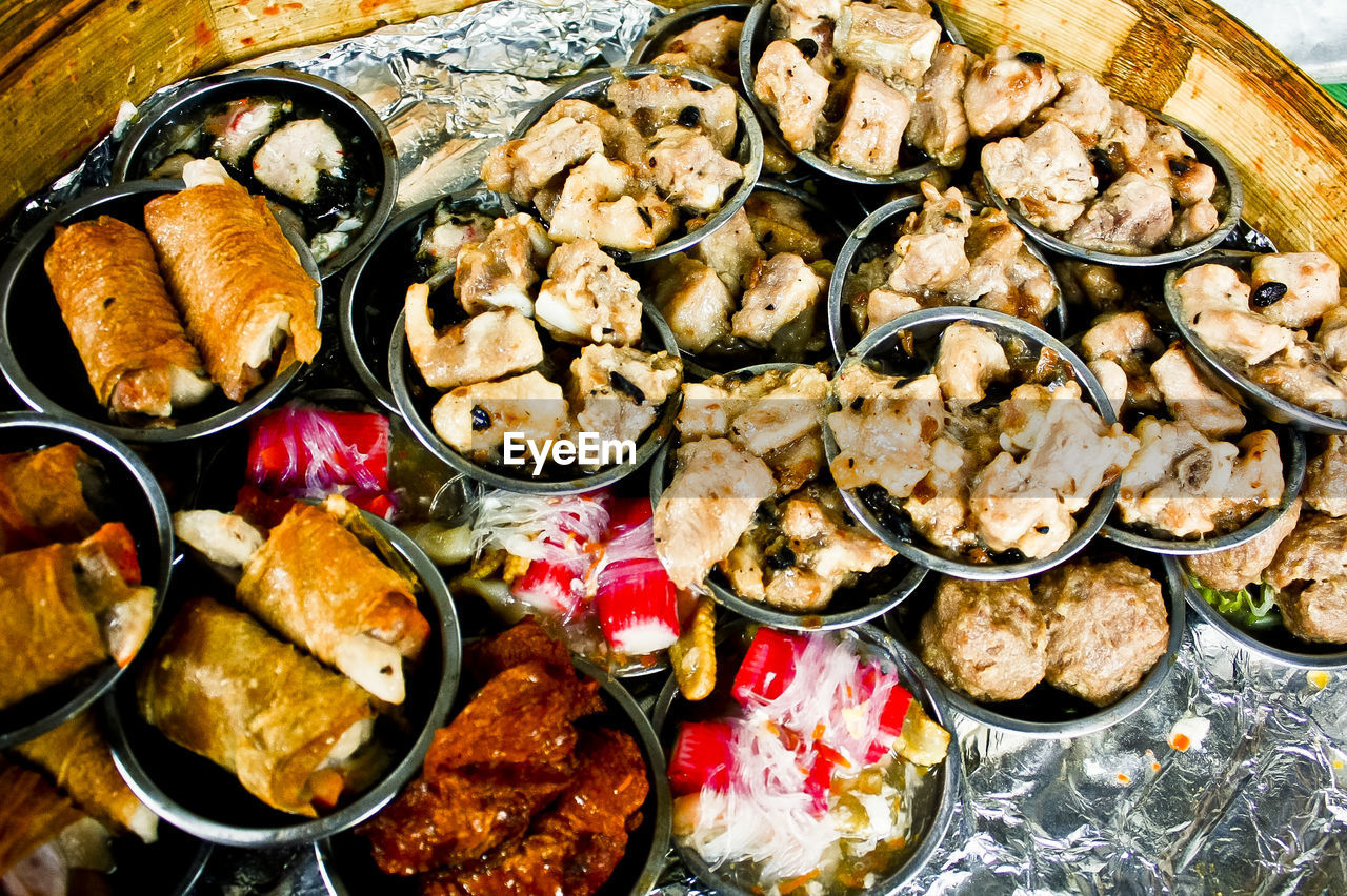 High angle view of various food in bowls