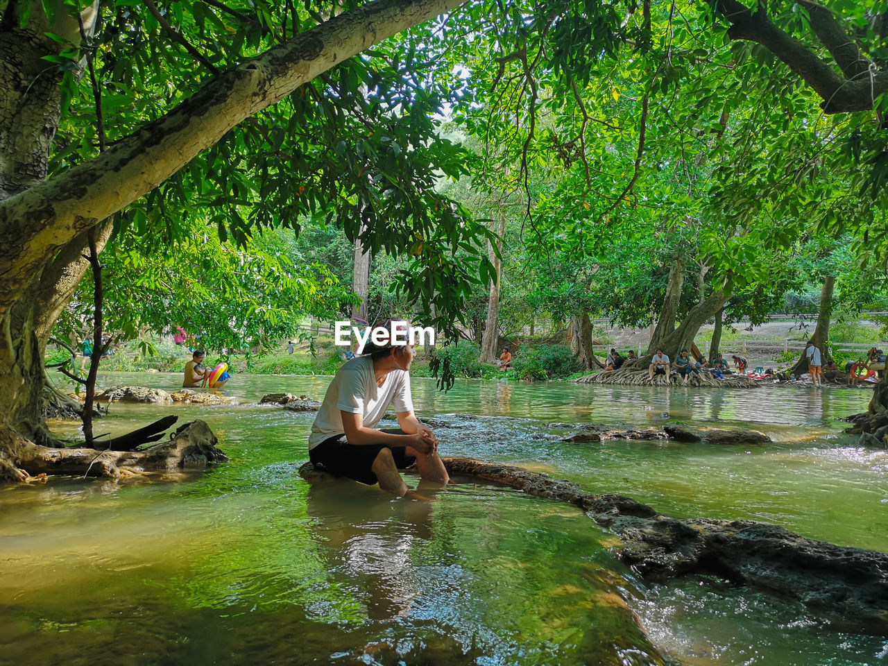 YOUNG WOMAN SITTING BY TREE IN WATER