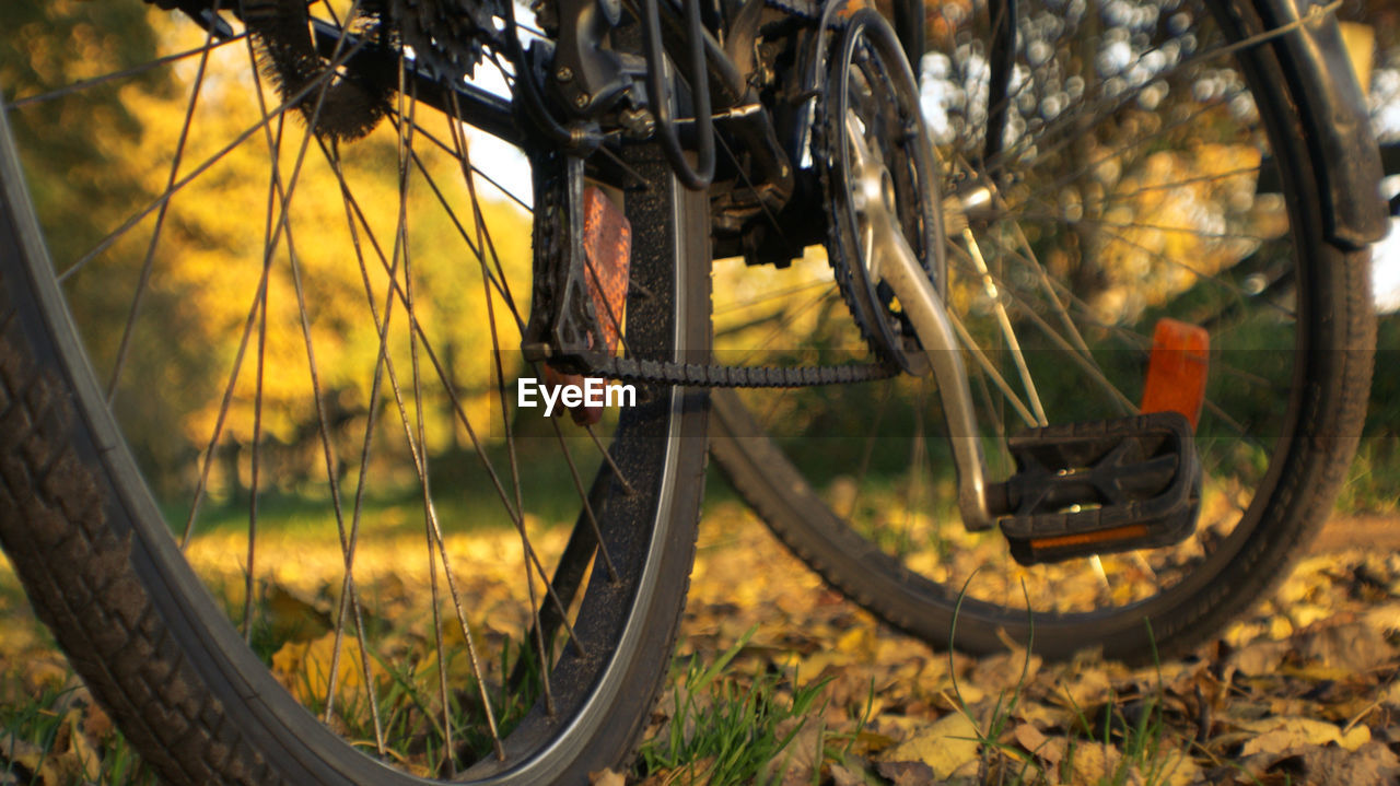 Cropped Image Of Bicycle Parked On Field