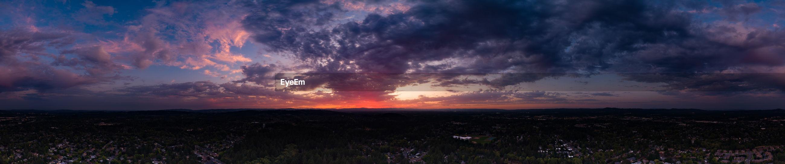 sunset Sunset Storm City Clouds And Sky Evening Oregon Beauty Panorama