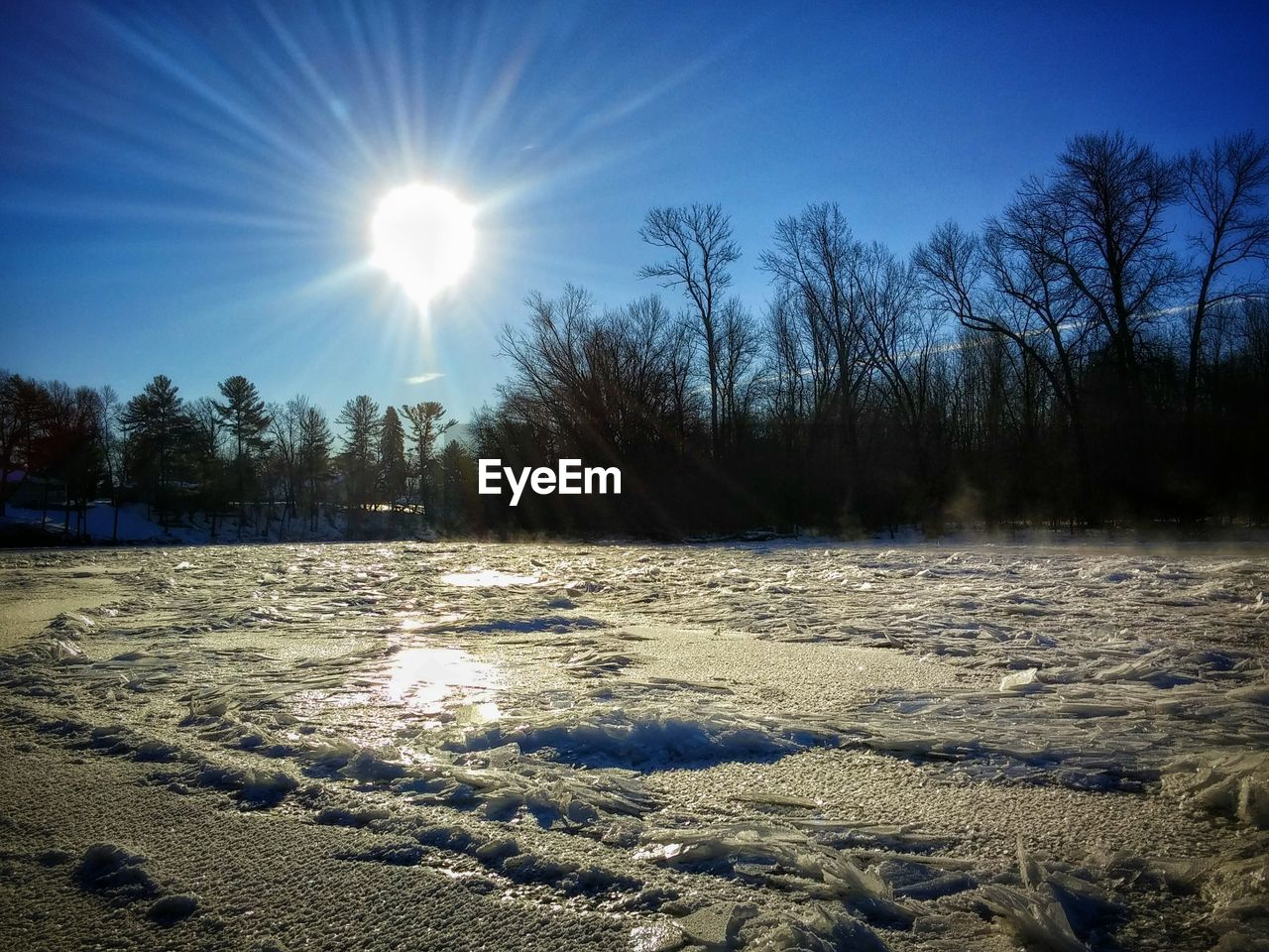 cold temperature, winter, snow, sun, nature, tranquility, tree, beauty in nature, cold, weather, sunbeam, tranquil scene, lens flare, scenics, no people, sunlight, outdoors, frozen, landscape, field, day, bare tree, sky