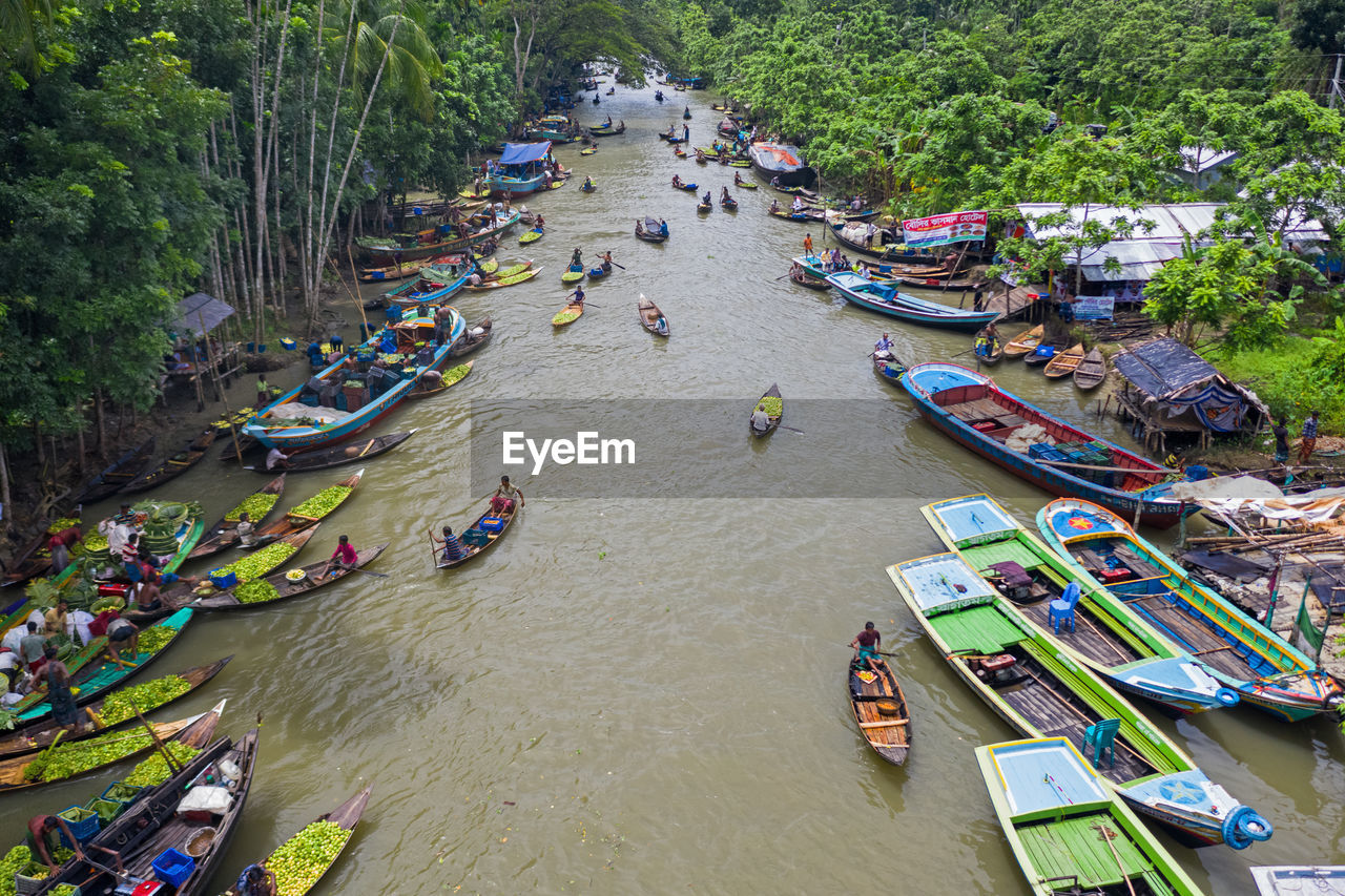 water, high angle view, transportation, nautical vessel, group of people, day, river, mode of transportation, crowd, large group of people, real people, nature, men, women, lifestyles, outdoors, tree, plant