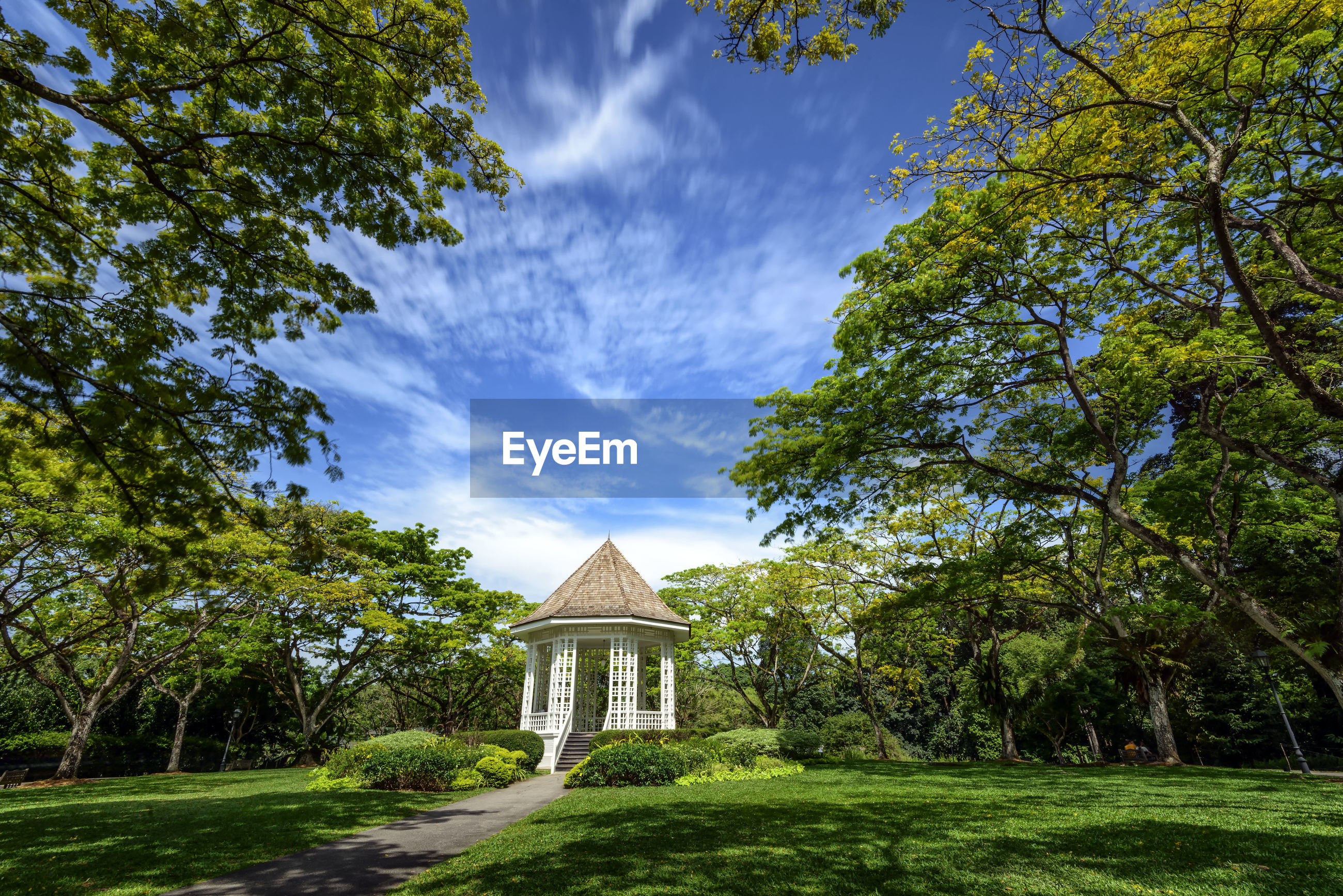 Gazebo at singapore botanic gardens against blue sky
